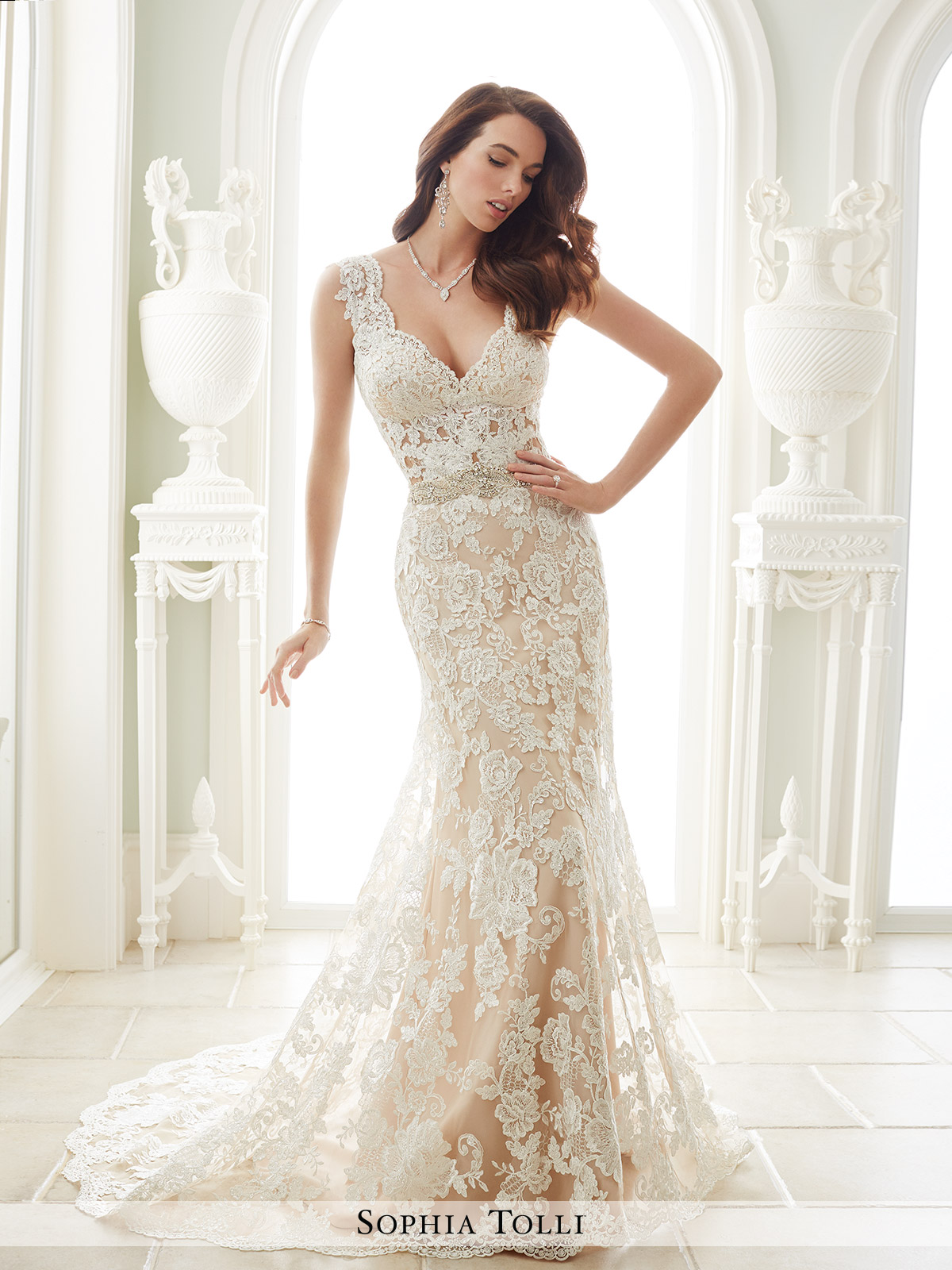 599c40cfdd00 Sophia Tolli  Fellini. Lace over stretch jersey fit and flare gown ...